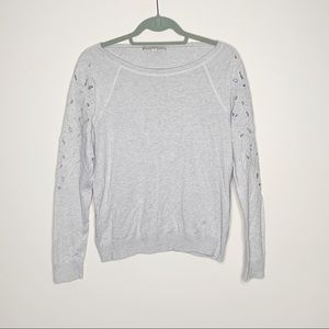Ann Taylor Loft Grey Sweater with Floral Cut Outs